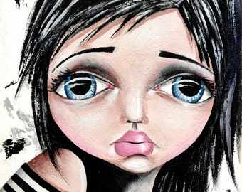 Big Eye Art Mixed Media Giclee Print Signed Reproduction Day Dreams by Lizzy Love [IMG#35]