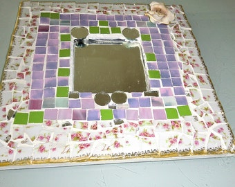 Mosaic glass Mirror, handmade, stained glass, china and mirror circles