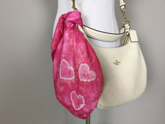 "Valentines Day 20"" Valentine's Day Gifts Purse Scarf, 100% Silk Satin, Pink with Tie Dye Hearts  Purse Scarves #196"