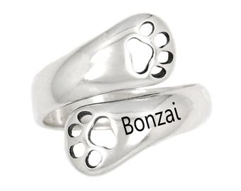Sterling Silver Polished Customized Personalize Adjustable Dog Paw Dog Lover Ring