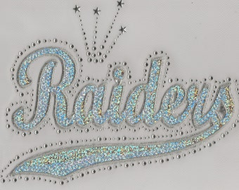 CLOSEOUT SALE Raiders Sequins and Rhinestone Transfer Applique ONLY