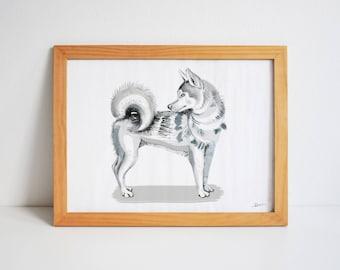HUSKY A4 Giclée Print - art dog animal portrait illustration painting drawing cute husky wall decor home lifestyle grey pet textures paws