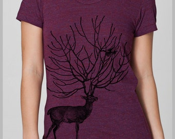 Women's T Shirt Deer Birds Nature T shirt Womens Clothing American Apparel Screen Print Shirt S, M, L, XL 8 COLORS