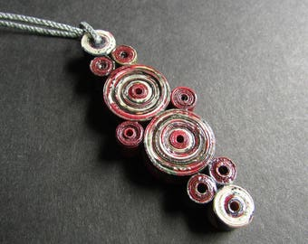 """Large Modern Red Paper Necklace, Upcycled from Magazine Pages, Earth Friendly Gift for Paper Anniversary """"The Last Stroke of Midnight #2"""""""