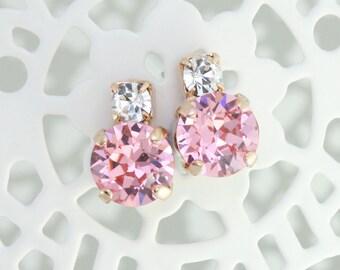Pink bridesmaid earrings,pink wedding jewelry,pink earrings,pink crystal earrings,Swarovski Light rose,petite earrings,rose gold earrings