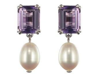 Classic 18K White Gold Amethyst Pearl Earrings
