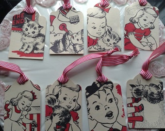 Set of 8 Gift Tags/Party Favor Tags, Illustrations from Vintage Children's Book, Girl and kitten