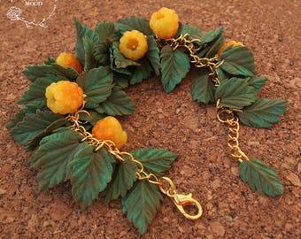 Berries&leaves bracelet, Polymer clay bracelet, Polymer clay jewelry, Handmade jewelry, Gift idea