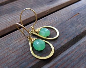Sundrop - Chrysoprase Earrings - Semi Precious Stone and Brass Teardrop Earrings - Artisan Tangleweeds Jewelry