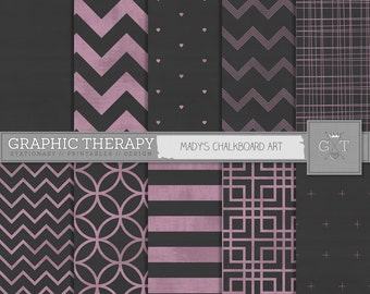 Chalkboard Digital Papers, appearance of a black chalkboard, with pink chalk drawn chevrons, stripes and more