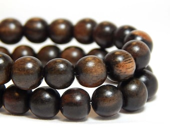 8mm Tiger Ebony Wood Beads, Round Brown Wood Beads, 8mm Black Brown Beads, Black Wood Beads, Tiger Ebony Beads, Wooden Beads, D-P11