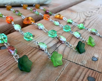 windchime, glass beads wind chime, garden decor, colorful patio windchimes, driftwood outdoor decor