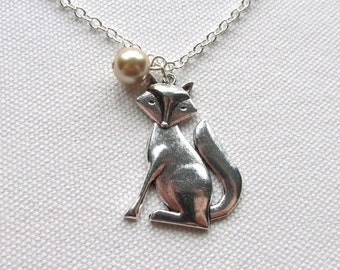 Silver Fox Necklace Cute Kawaii Fox Necklace Animal Charm Champagne Glass Pearl Woodland Forest Creature