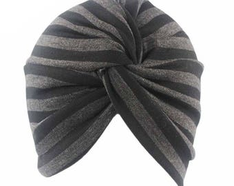 Black Gray Striped Cotton Turban Hat, Hairband Head Wrap, Stretch Women Hijab Cap