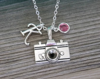 photographer necklace silver sterling camera capture life pin gift stamped photography hand