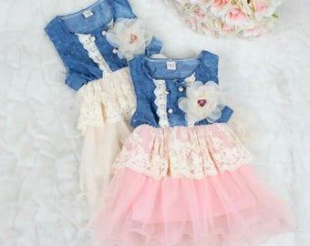 Denim floral lace tutu dress