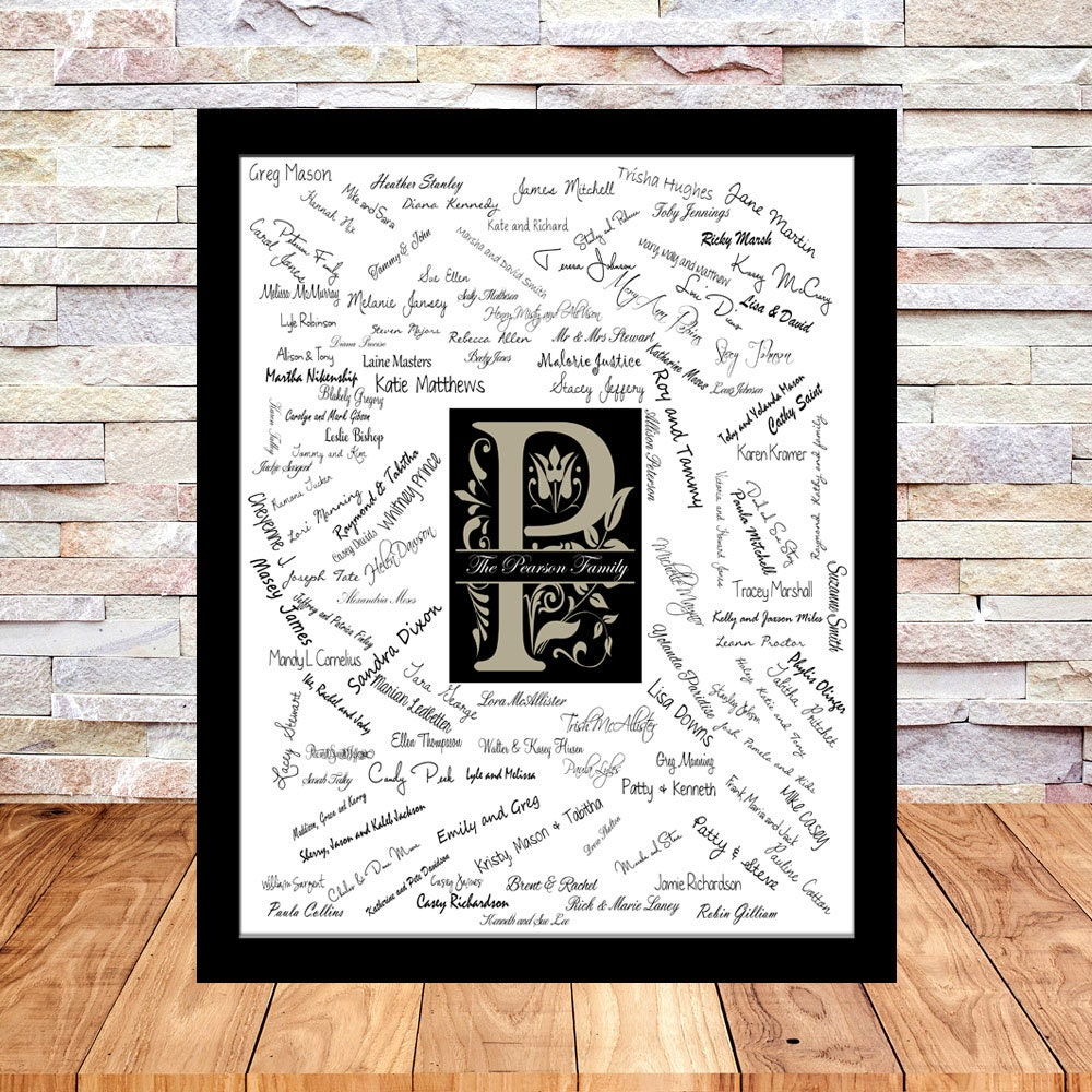 Large Wedding Guest Book Alternative Print Monogram Guest