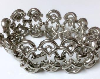 "Vintage Trifari Pat Pend Elaborate Silver Tone Link Bracelet 6.5"" Well Made"