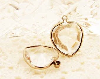 Vintage Silver Channel Set Faceted Clear Heart Acrylic Rhinestone Charms 18x14mm - 6