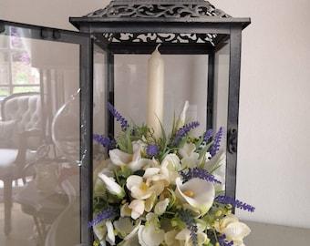 Wedding Table Decor/Home Decor Lantrrn with Ivory Cream Orchard Blossom & Calla Lillies.