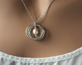 40th Birthday Necklace;4 Silver and Gold Rings;Handmade Silver & Pearl Necklace;Sterling Silver and 14K Gold Filled