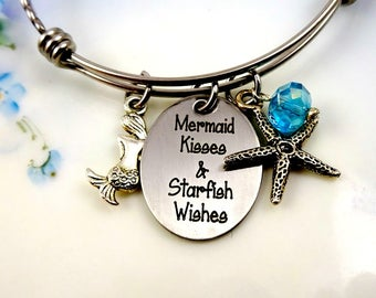 Mermaid Kisses & Starfish Wishes Bangle Bracelet - Expandable -  beach jewelry - Engraved