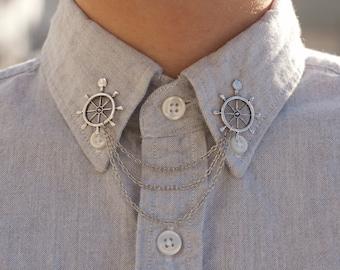 Silver Wheel Collar Clip Collar Chain