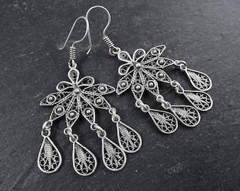 Petals Fan Shaped Telkari Dangly Silver Ethnic Boho Earrings - Authentic Turkish Style