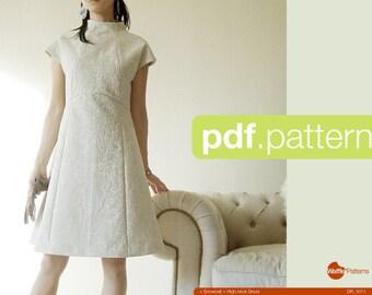 PDF sewing pattern Women high neck dress -Snowball- (size 34-48)
