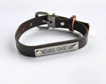 Quote Leather Cuff Wristband Bracelet Brown Narrow Adjustable Never Give Up