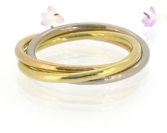 Trinity Ring in 18k Gold, Rolling Ring or Russian Wedding Ring, Eco Friendly, Handmade to Size