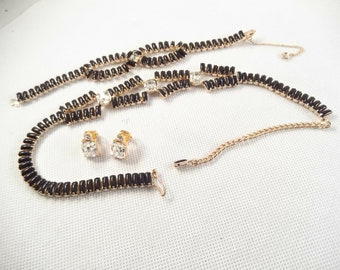 Black Baguette Jewelry Set, Necklace, Bracelet and Clip Earrings, Gold Tone Metal, Unsigned, Emerald Cut Rhinestone