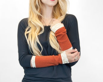 Lace Arm Warmers, Fingerless Gloves Burnt Orange Wrist Warmer Bands, Pumpkin Womens Gift for Her, Tattoo Covers Long Sleeve Extender Cuff