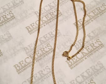 """Vintage 18k yellow gold 2mm wide Curblink Chain necklace, 21.5"""" and 7.77 grams"""