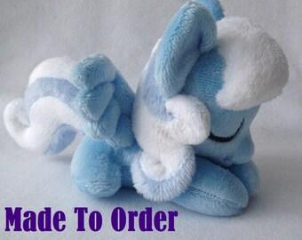 Sleepy Snow Drop Pony Plush Handmade Custom - Made To Order