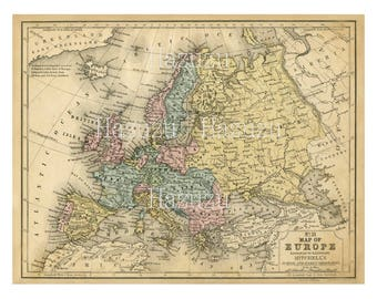 Europe Map PNG ephemera clip art vintage background antique instant download mixed media collage journal scrapbooking