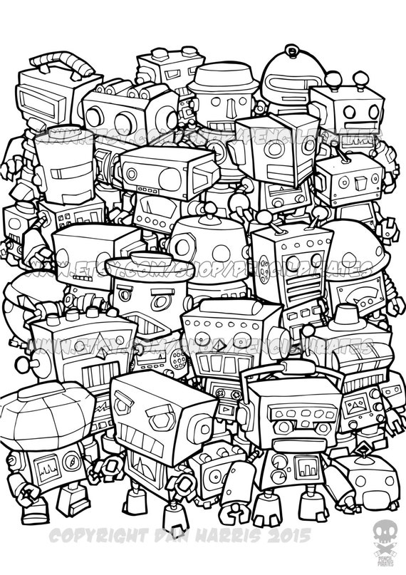 Retro Robot Colouring Page Adult Colouring Book Page One