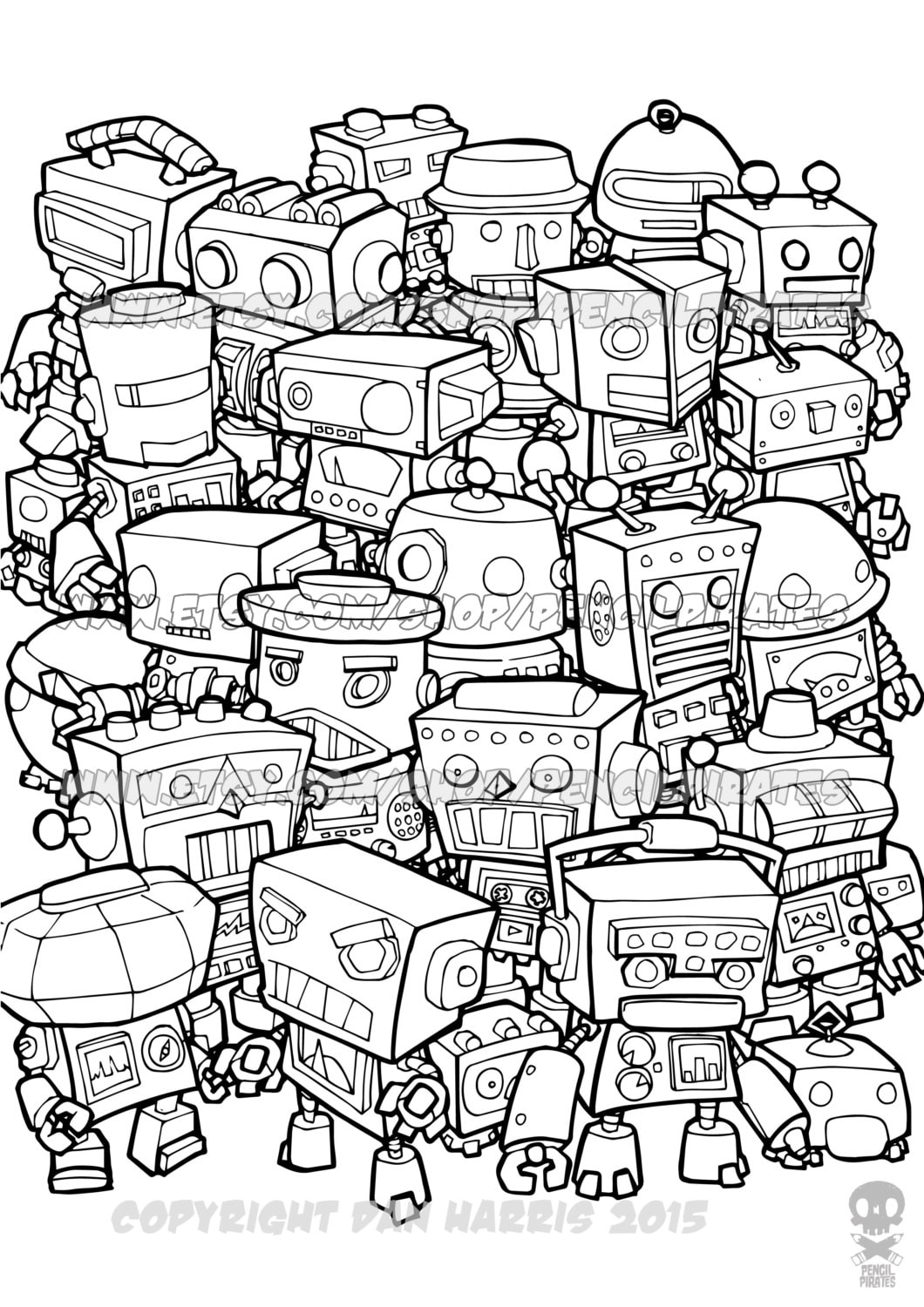 Retro robot colouring page adult colouring book page one Colouring books for adults uk