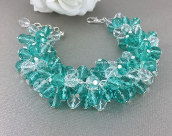 Teal Bracelet Crystal Cluster Bracelet Bridal Bracelet Chunky Bridesmaid Jewelry Destination Wedding Aqua Teal Jewelry Gift for Her