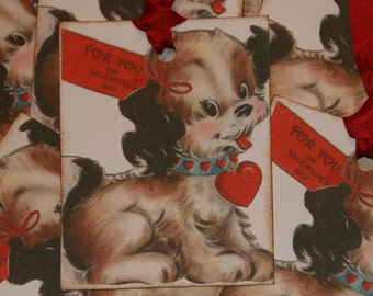 Puppy Love For You On Valentine's Day Gift Tags