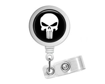 Punisher Photo Glass / Bottle Cap Retractable ID Badge Reel