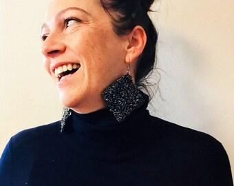 Black earrings and multicolor glitter with rhombus or square handmade crochet; Crochet Earrings