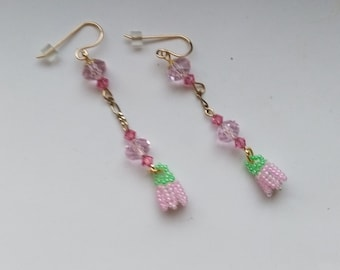 Beadwoven Pink Flower Earrings, Gold Filled French Ear Wire,  Firepolished & Austrian Crystals, Anniversary, Birthday Gift by enchantedbeads