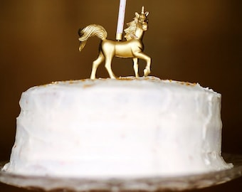 Gorgeous Gold Standing Unicorn Birthday Candle Holder / Cake Topper