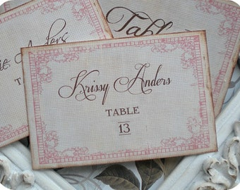 Personalized Romantic Wedding Escort Cards / Tags - Set of 25