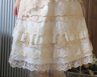 Romantic Shabby Lace Mori Girl Skirt (size medium) With Layers of Lace and Shabby Doilies. Hand Made by Seashellanna