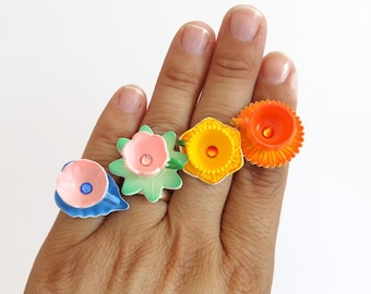 Clora - miniature flower teacup ring - pumpkin teacup - miniature tea cups - flower teacup ring