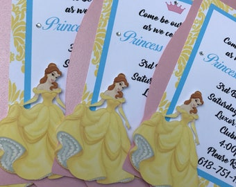 Beauty and the Beast Princess Belle Inspired Invitations Set of 12