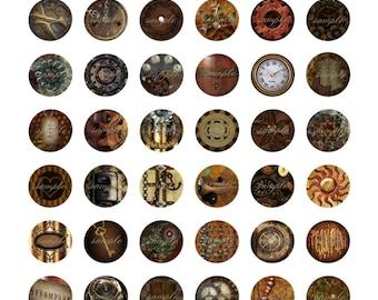 "Steam Punked 1"" Circles Collage Sheet - Printable Collage Sheet"