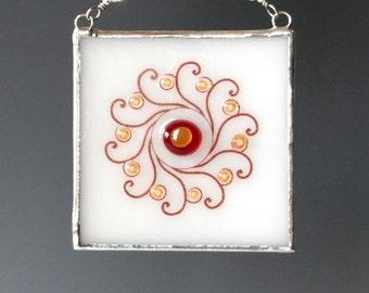 Sun Fused Glass Suncatcher Sun Suncatcher Spiral Ornament
